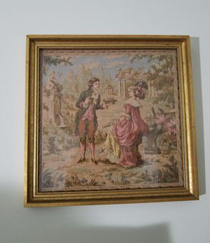 Antique French Aubusson Husbandry Agrarian Pastoral Scene Tapestry Square With Frame for Sale in Glendale, CA