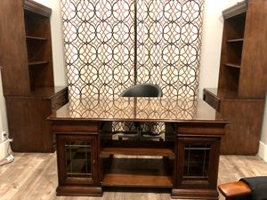 Office wood furniture set- executive desk, 2 bookshelves/ hutches for Sale in Rocklin, CA