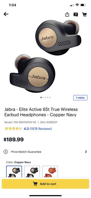 Jabra - Elite Active 65t True Wireless Earbud Headphones - Copper Navy Model:100-99010000-02 Condition is Brand New. for Sale in San Antonio, TX