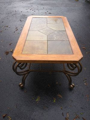 Rectangular Cocktail Slate/ Metal Brown Finish Coffee Table for Sale. for Sale in Virginia Beach, VA