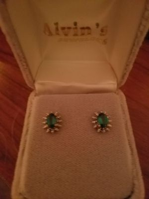 Stunning lab-created Emerald earrings for Sale in Clayton, NC