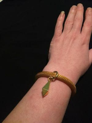 Gold Plated Heavy Duty Serpentine Bracelet With Pendulum Charm for Sale in Portland, OR