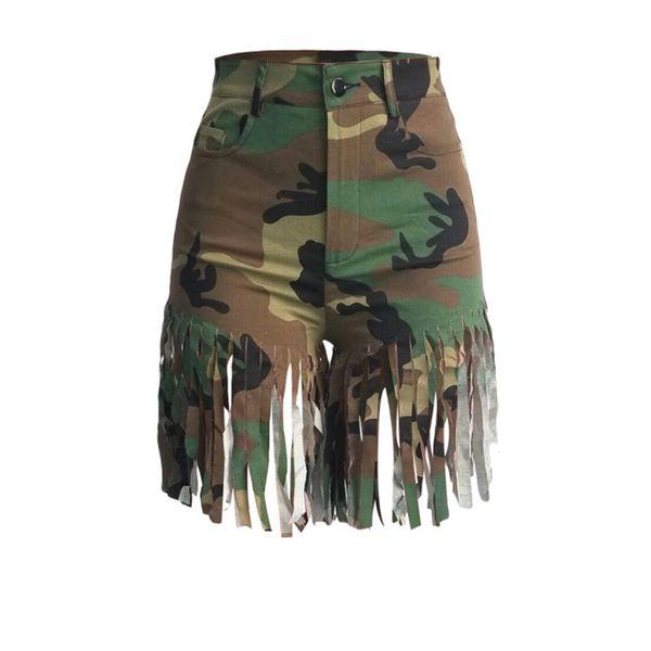 Women Camouflage Fringe Shorts