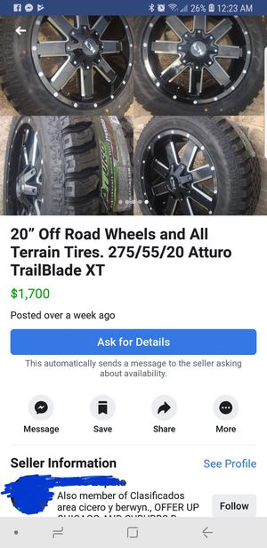 """20x9 rims with 33"""" tires for Sale in Chicago, IL"""