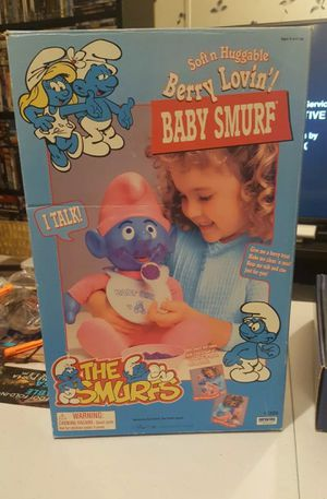 Vintage The Smurfs Soft N Huggable Baby Smurfs talking baby never plaid with .. for Sale in Hanover, MD