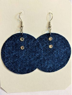 Denim Dangle round Earring with Swavorski Crystals for Sale in Peoria, IL
