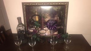 Grapes and wine kitchen decoration. Wall art, corkscrew holders, wine holder, and wine glasses. for Sale in TEMPLE TERR, FL