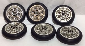"6 Solid Rubber Wheels 6"" Chrome Rims for Sale in Snohomish, WA"