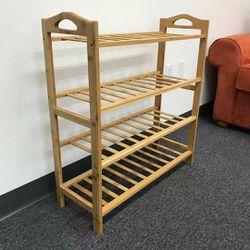 Brand new in box 4 Tier Bamboo Shoe Shelf Storage Organizer 27x11x30 inches shoe rack for Sale in Whittier,  CA