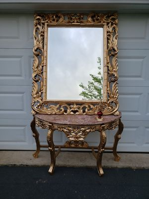 Marble Top Console Table with Gold Mirror and Candle holder for Sale in Gainesville, VA