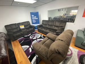 Barcelona Brown Fabric Reclining Sofa, Loveseat and Chair $1199. No Credit Check Financing. Same Day Delivery for Sale in Tampa, FL