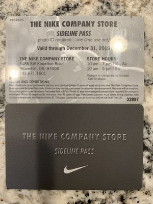 Nike Employee Company Store Pass for Sale in Beaverton, OR