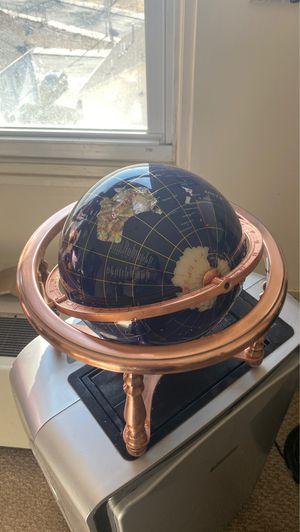 Hand Made Semi-Precious Stone World Globe on a Copper Stand for Sale in Lynn, MA