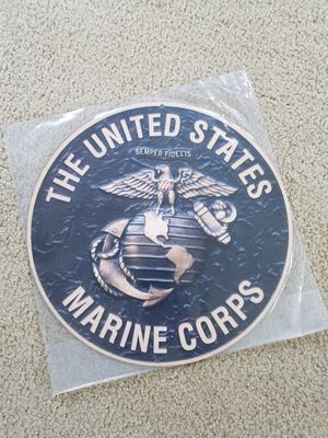 Bronze colored marines marine logo heavy steel metal sign for Sale for sale  Vancouver, WA