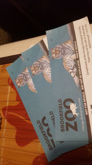 3 BrookField Zoo Tickets. for Sale in Chicago, IL