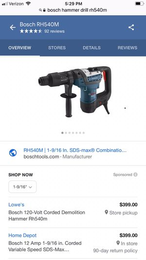 Bosch SDS Max Hammer Drill for Sale in Annandale, VA