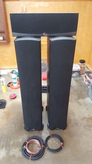 KLIPSCH RC25 Black Center Speaker & KLIPSCH Synery F2 Floorstand Black Speakers (Qty 2) for Sale in Covina, CA