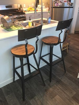 Metal and Wood Wyatt Pub Stool (Set of 2) for Sale in Fairfield, IA