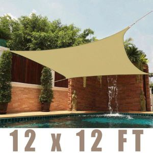 New 12x12 Square Patio Sunshade Tan Pool Shade Sail (ROPES AND HOOKS INCLUDED) for Sale in Corona, CA