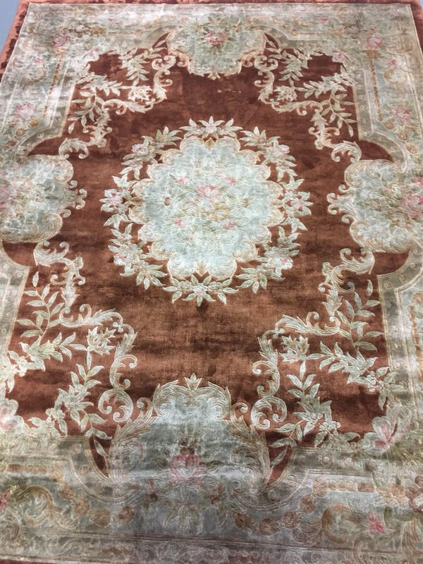 Silk & wool hand knotted 7.5'x9.5' extra dense pile Persian rug