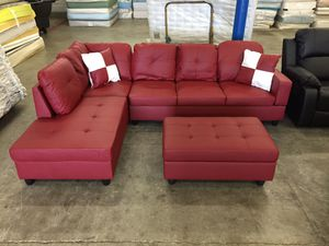 Red leather sectional couch and ottoman for Sale in Tukwila, WA