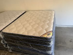 Brand new queen size pillow top mattress with box spring included same-day delivery available all sizes available for Sale in Fort McDowell, AZ