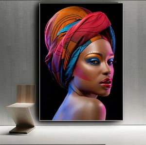 Sexy Black Nude African Woman Red Lips Canvas Painting Cuadros Posters and Prints Scandinavian Wall Art Picture for Living Room height 35 widet 23 for Sale in San Jose, CA