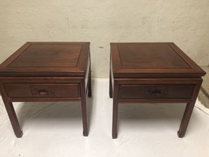 Antique Japanese End Tables (pair) and matching coffee table, hand carved designs for Sale in Smyrna, GA
