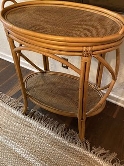 Wicker And Wood Bar Cart  for Sale in Los Angeles, CA