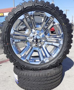 "22"" Chevy Silverado GMC Sierra Off-Road Wheels & Tires 33"" 33x12.50R22 Mud-Terrain M/T Tires Tahoe Yukon Escalade [No Rub] setof4 for Sale in Los Angeles, CA"