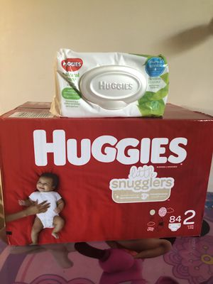 Huggies little snugglers size 2 (84 DIAPERS + WIPES)- -$20 FOR ALL !! for Sale in Riverdale, GA