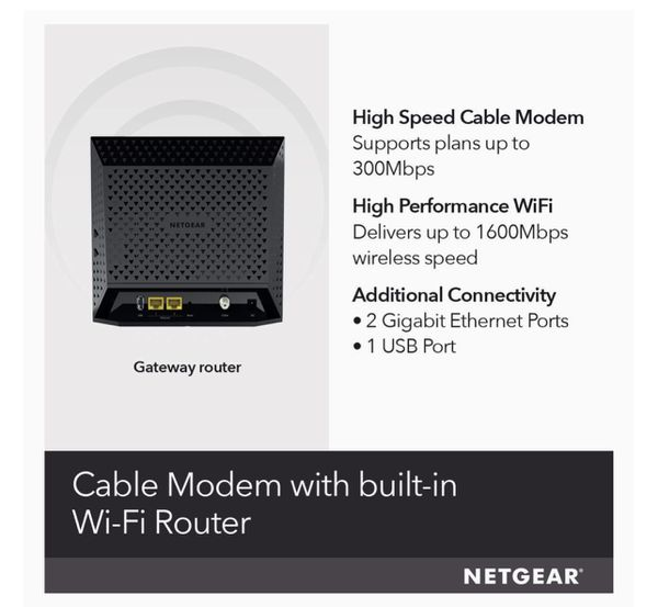 Netgear C6250 - Cable Modem Wi-Fi Router Combo 300Mbps (xfinity, Spectrum / Coax)