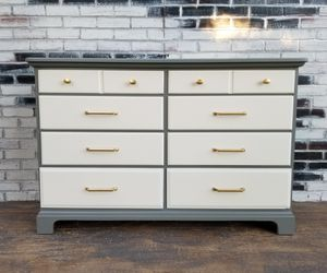 Credenza Dresser. 8 drawers. Stone gray / Off white / gold for Sale in Westchester, CA