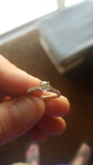 14 KT White Gold Engagement Ring .50 Carat W/14 brilliant Diamonds on sides Size 6 for Sale in Union Park, FL