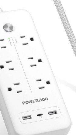 USB C Power Strip Surge Protector, POWERADD 30W USB C Power Delivery, 2 USB A & 6 AC Outlets, 5ft Braided Extension Cord, Flat Plug for MacBook Pro, i for Sale in Irvine,  CA