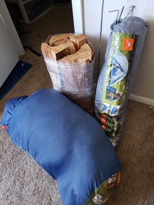 Single person tent with sleeping bag, cooking fork, wood, trowel and wood lighter for Sale in Tempe, AZ