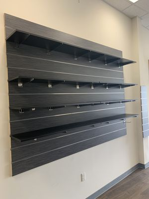 5 slat walls with shelves and hooks $600 or best offer for Sale in Passaic, NJ