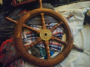 Sailboat wheel and a shadow box with all kind of sailor knots for Sale in Nashville, TN