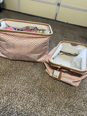 "2 collapsible storage bins wood trim @21x13"" & 14"" T Never used perfect. Coral-gray colors. for Sale in Laguna Hills, CA"