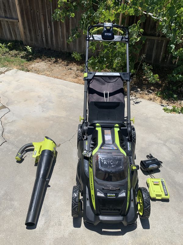 "Ryobi lawnmower 40 volt 20"" self propelled with air blower bundle brand new"