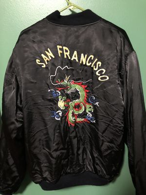 ULTRA RARE- Vintage silk/rayon bomber jacket— hand stitched art for Sale in San Bruno, CA