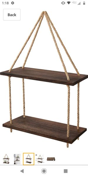 MKONO DARK WOOD HANGING SHELF WALL SPRINGS STORAGE SHELVES JUDE ROPE ORGANIZER 2 TIER RACK for Sale in Victorville, CA