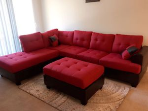 Brand New Reversible Red Linen Sectional Sofa Couch + Ottoman for Sale in Silver Spring, MD