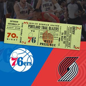2 tickets to Blazers to 76ers Nov. 2nd (70s night). Section 325 row J for Sale in Vancouver, WA