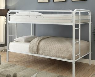 NEW WHITE Twin over Twin Size Metal Bunk Bed with Open Frame Design for Sale in King of Prussia,  PA