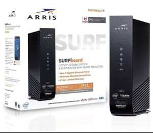 ARRIS SURFboard 24x8 DOCSIS 3.0 Cable Modem Plus AC2350 Dual Band WiFi Router Model SBG7400AC2 for Sale in Sacramento, CA