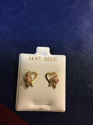 14kt heart/rose earrings for Sale in Norfolk, VA