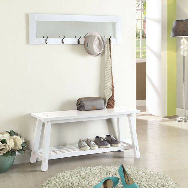 Stanton white bench and mirror