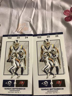 Buccaneers vs Rams Sunday 9/29 - $80 each obo for Sale in Los Angeles, CA
