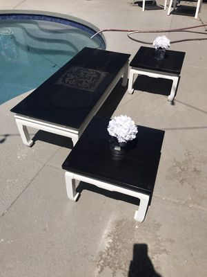Asian coffee table set with 2 end tables for Sale in Mesa, AZ